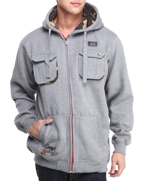 COOGI Men Grey Coogi Camo Dual Pocket Full Zip Hoodie