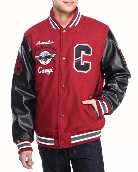COOGI Men Red Coogi Wool Varsity Jacket W/ Pu Sleeves