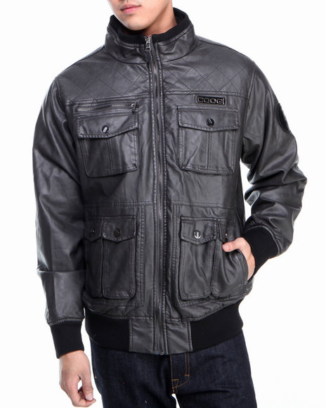 COOGI Men Grey Faux Leather Shoulder Quilting Jacket