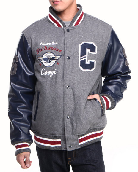 COOGI Men Grey Coogi Wool Varsity Jacket W/ Pu Sleeves