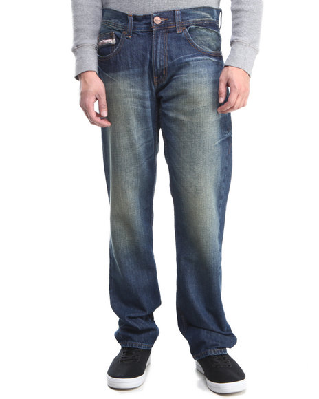 Akademiks Vintage Wash Vintage Blue Wash 5 Pocket Denim Jeans