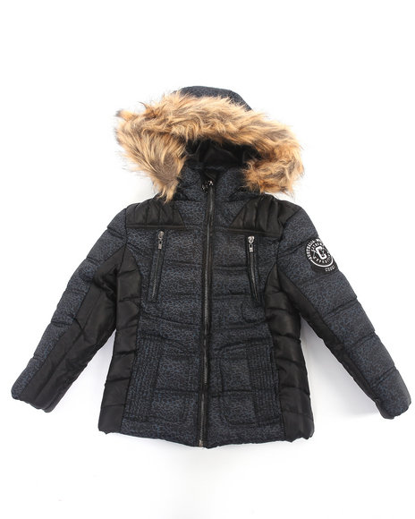 COOGI Girls Black Camo Print Puffer Jacket W/ Faux Fur Hood (7-16)