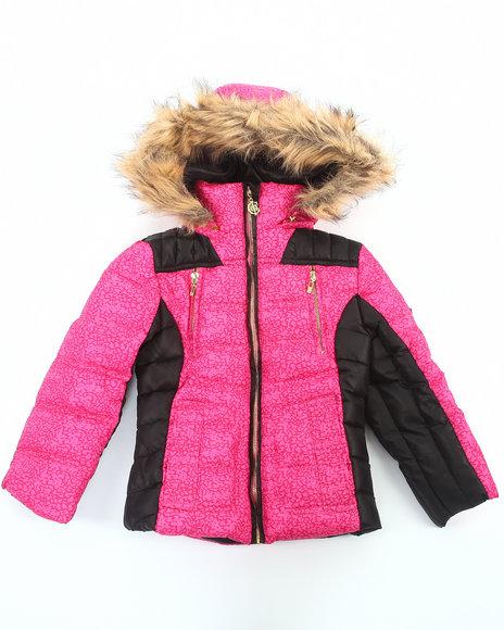 COOGI - Girls Pink Camo Print Puffer Jacket W/ Faux Fur Hood (4-6X)