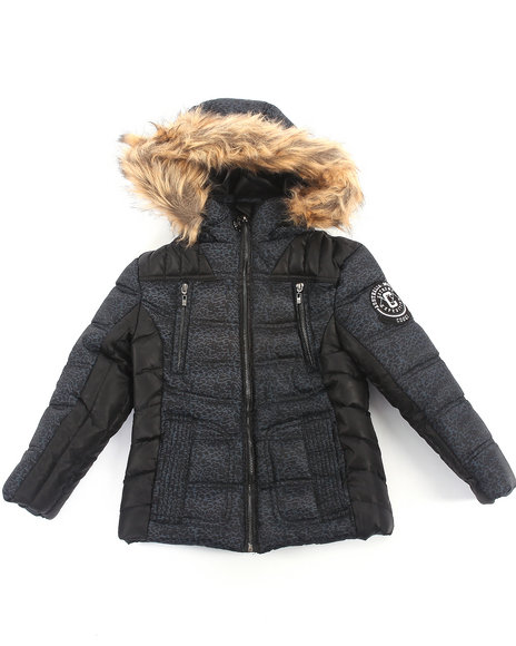 COOGI - Girls Black Camo Print Puffer Jacket W/ Faux Fur Hood (4-6X)