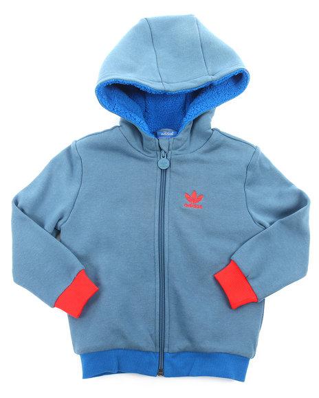 Adidas Boys Blue Teddy Fur Hoody