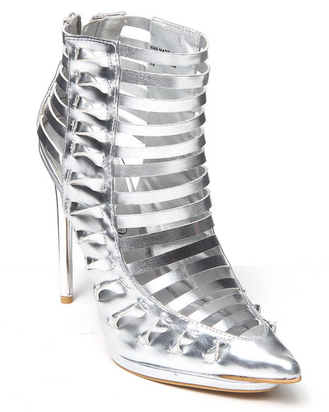 Penny Loves Kenny Silver Ashlin Caged Bootie