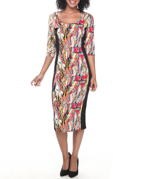 Coogi - Women Black Coogi Printed Midi Dress - $24.99