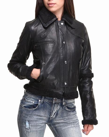 Drj Leather Shoppe - Women Black Sherpa Lined New Zealand Lamb Skin Snap-Button Jacket