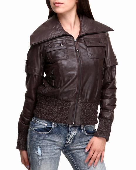 Drj Leather Shoppe - Women Brown New Zealand Lamb Skin Smocked Jacket