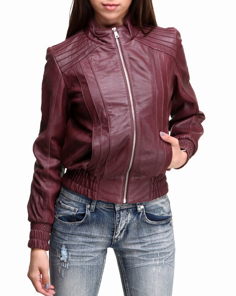 Drj Leather Shoppe - Women Dark Red Pin Tuck Zip-Up Genuine Leather Bomber Jacket