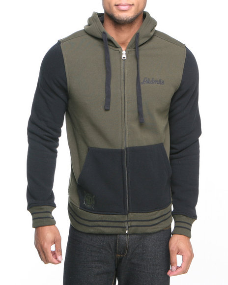Akademiks - Men Olive Colosseum Fleece Zip Hoody Jacket
