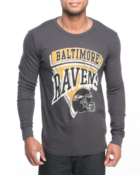 Junk Food - Men Black Baltimore Ravens Time Out Thermal Shirt