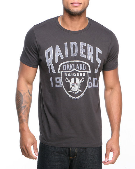 Junk Food - Men Black Oakland Raiders Kick Off Crew Shirt