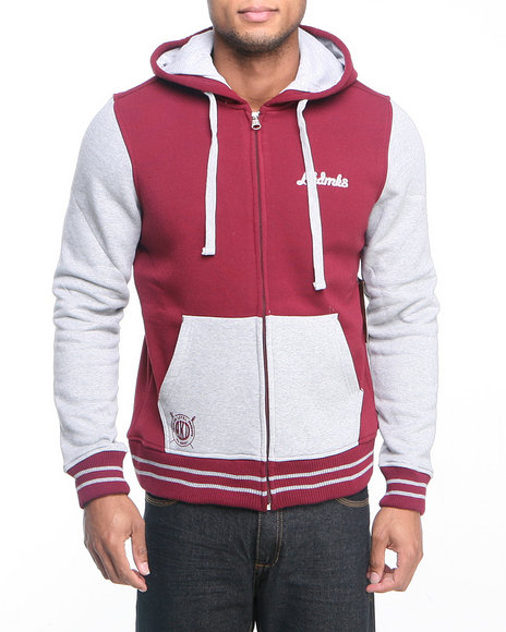 Akademiks - Men Maroon Colosseum Fleece Zip Hoody Jacket
