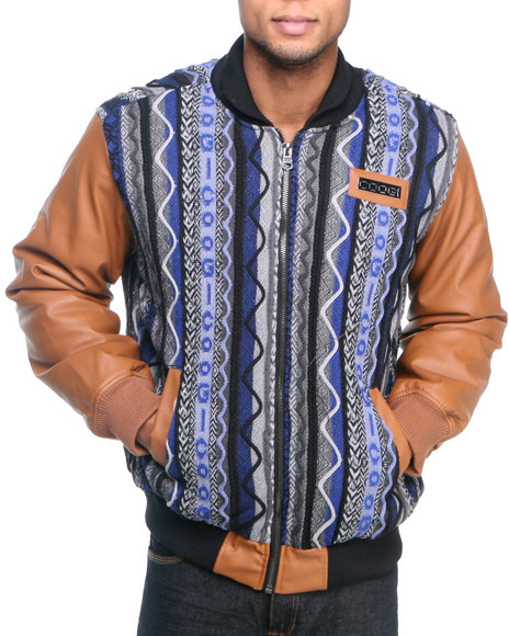 COOGI Men Tan Coogi Sweater Jacket W/ Pu Sleeves