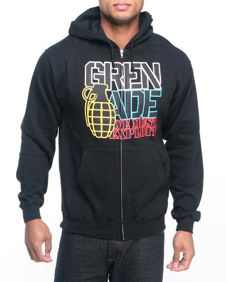 Grenade - Men Black Color Logo Zip Hoodie