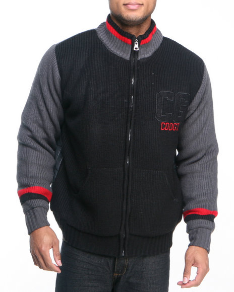 COOGI Men Black Varsity Sweater Jacket