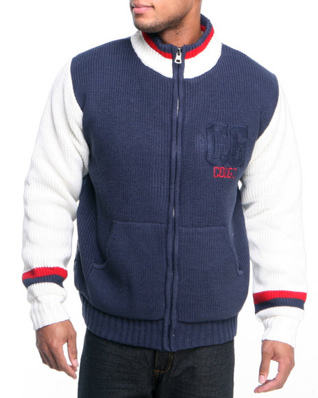 Coogi - Men Navy Varsity Sweater Jacket