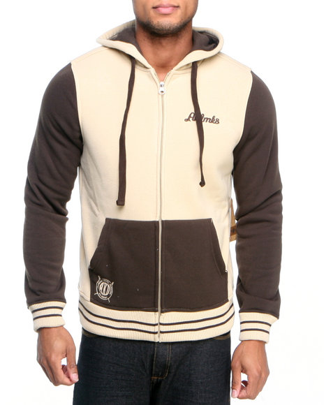 Akademiks - Men Khaki Colosseum Fleece Zip Hoody Jacket