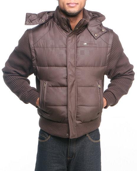 Pelle Pelle by Marc Buchanan Dark Brown Mb Zip-Off Sleeves Jacket