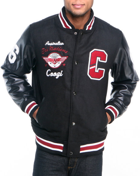 COOGI Men Black Coogi Wool Varsity Jacket W/ Pu Sleeves