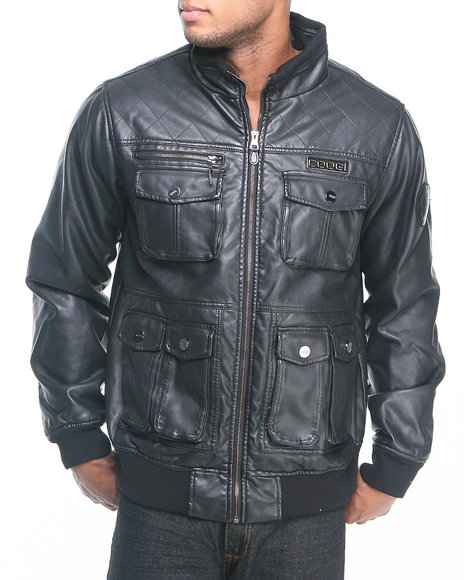 COOGI Men Black Faux Leather Shoulder Quilting Jacket