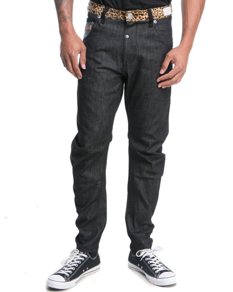 Two Angle Clothing - Men Black Wurve Curve Elasticated Denim Jeans