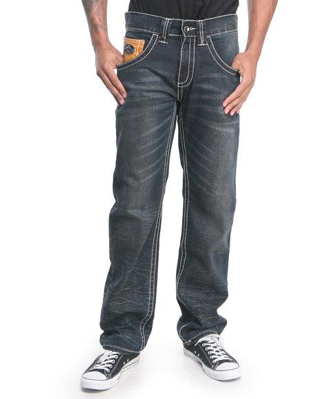Pelle Pelle By Marc Buchanan - Men Medium Wash,Medium Wash Mb Printed Pocket Terra Firma Wash Denim Jeans