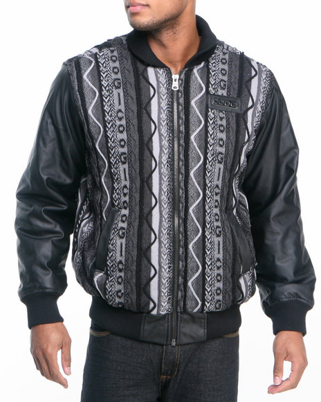 COOGI Men Black Coogi Sweater Jacket W/ Pu Sleeves