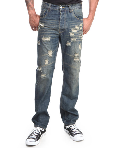 Parish - Men Dark Wash Ripped Torn Denim Jeans
