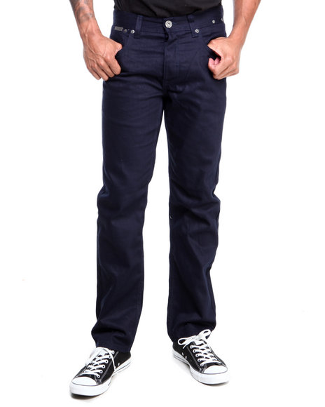 Parish - Men Navy Brandenburg Overdyed Leather Detail Denim Jeans
