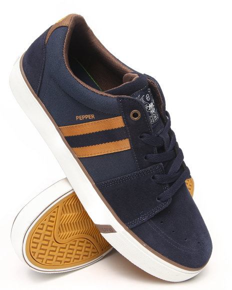 Huf - Men Bronze,Navy Pepper Pro Suede/Canvas/Woven Nylon Sneakers