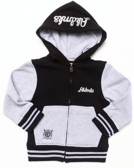 Akademiks - Boys Black Color Blocked Fleece Full Zip Hoody (2T-4T)