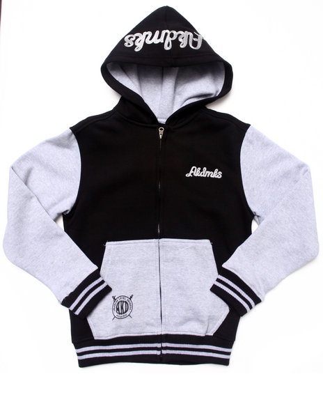 Akademiks - Boys Black Color Blocked Fleece Full Zip Hoodie (8-20)