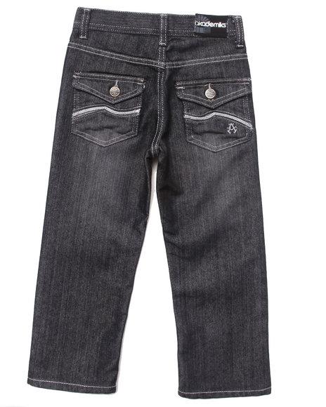 Akademiks - Boys Black Embroidered Flap Pocket Jeans (4-7)