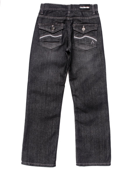 Akademiks - Boys Black Embroidered Flap Pocket Jeans (8-20)