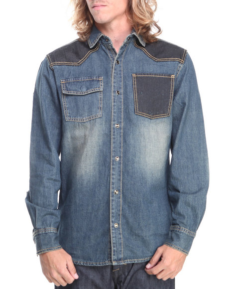 Pelle Pelle By Marc Buchanan - Men Indigo Mb Printed Denim L/S Button Down Shirt