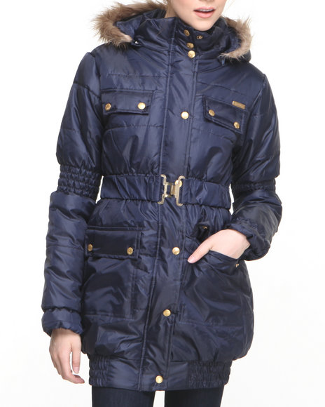 Apple Bottoms - Women Navy Long Hooded Puffer Coat
