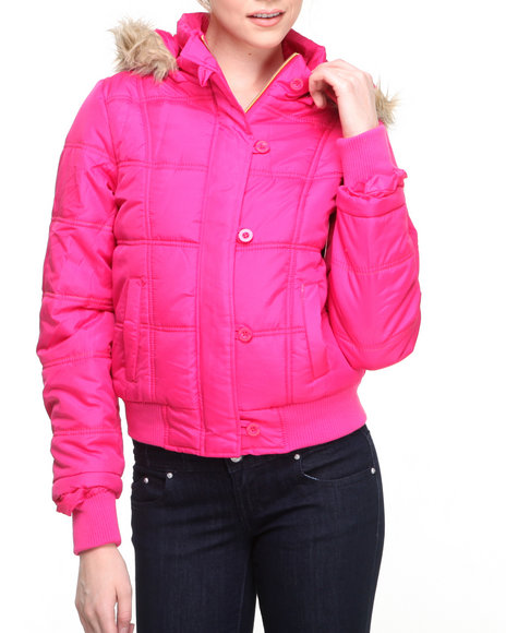 Apple Bottoms - Women Pink Muted Neon Hooded Puffer Jacket - $33.99