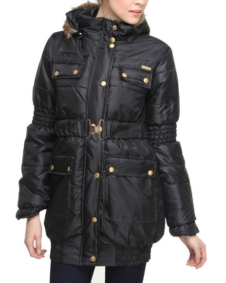 Apple Bottoms - Women Black Long Hooded Puffer Coat