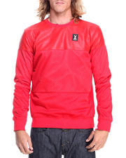 Men - Faux Leather Mesh Crewneck Sweatshirt