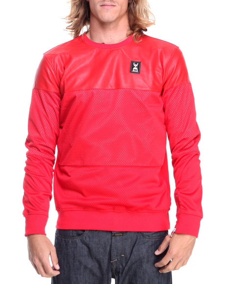 Forte' - Men Red Faux Leather Mesh Crewneck Sweatshirt - $60.99