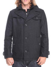 Heavy Coats - Wool Coat w/ Nylon Bib