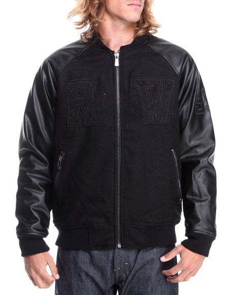 Rocawear - Men Black Varsity Wool Jacket