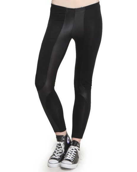 Leggsington - Women Black Joni Faux Leather Patch Leggings