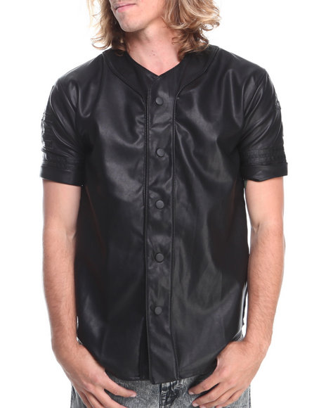 Forte' Black Faux Leather Baseball Jersey