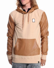 Men - Python Faux - Leather Sleeve Hoodie