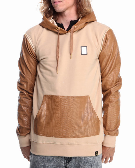 Forte' - Men Tan Python Faux - Leather Sleeve Hoodie