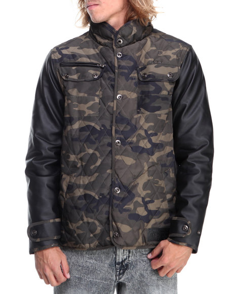 Rocawear - Men Black,Camo Quilted Nylon Jacket