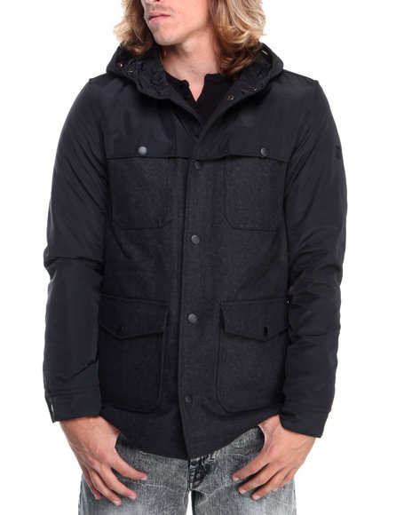 English Laundry - Men Black Wool Body Jacket W/ Nylon Detailng